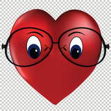 Heart of love wearing glasses vector - 247471599