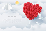 Paper art of group of red balloons combine to heart shape with copy space, origami and happy valentine's day concept