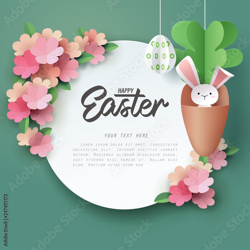 Paper art of Bunny in carrot and Easter eggs with paper flower, Happy Easter celebration concept
