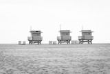 Lifeguard towers on the beach, in Venice Beach, Los Angeles, California. - 247487344