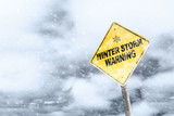 Winter Storm Warning Sign With Snowfall and Stormy Background - 247491161