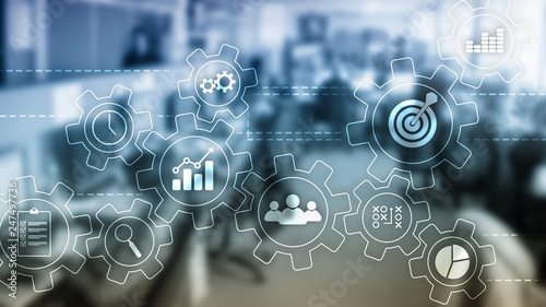 Leinwanddruck Bild Business process automation concept. Gears and icons on abstract background