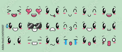 kawaii cartoon faces - 247503107
