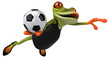 Leinwanddruck Bild - Fun frog - 3D Illustration