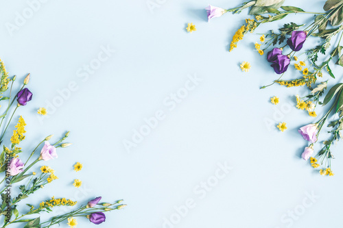 Flowers composition. Yellow and purple flowers on pastel blue background. Spring, easter concept. Flat lay, top view, copy space - 247511582