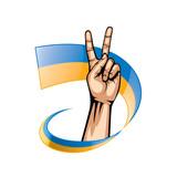 Ukraine flag and hand on white background. Vector illustration