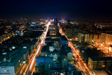 night view of the city of Donetsk from a great height