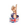 United Kingdom flag and hand on white background. Vector illustration