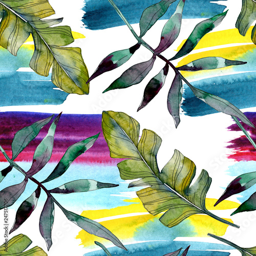 Green leaf. Exotic tropical hawaiian summer. Watercolor background illustration set. Seamless background pattern. - 247517706