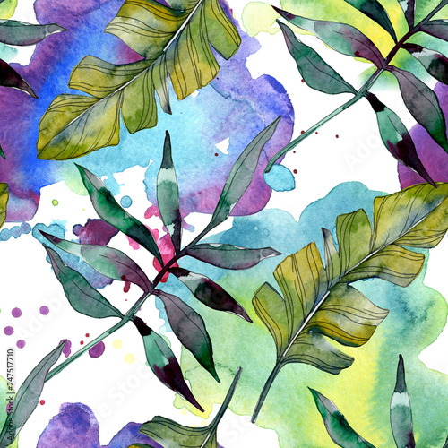 Leinwandbild Motiv Green leaf. Exotic tropical hawaiian summer. Watercolor background illustration set. Seamless background pattern.