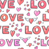 Valentine's Day seamless pattern with hearts and inscriptions