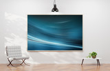 Large horizontal frame hanging on a white wall 3D rendering
