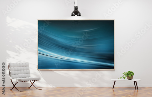 Large horizontal frame hanging on a white wall 3D rendering - 247520300