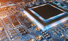 """Постер, картина, фотообои """"Close-up view of a modern GPU card with circuit 3D rendering"""""""