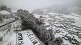 Aerial view in winter of Takayama, Gifu, Japan
