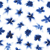Indigo violets. Seamless watercolor pattern. - 247528103