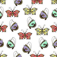 Abstract butterflies seamless pattern, hand drawing, textile print, vector illustration. Patterned colorful pastel insect with wings on white background. For fabric design, wallpaper, wrapper
