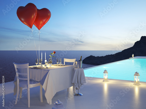 Leinwanddruck Bild 3D rendering of pool villa with champagne. valentines day