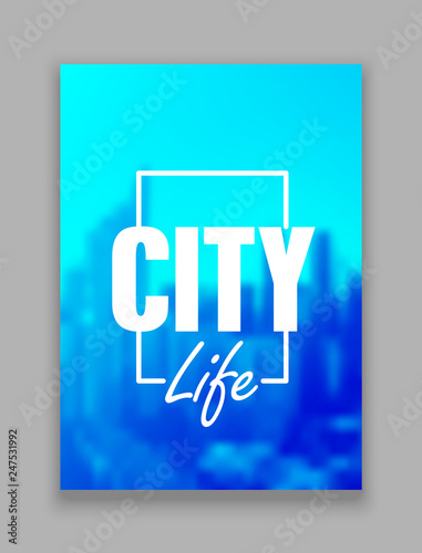 Magazibe abstract cover. Defocused city in background vector illustration - 247531992
