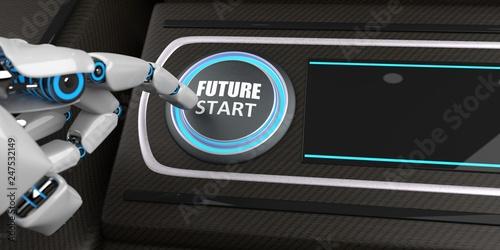 Leinwandbild Motiv Robot Button Future Start Display