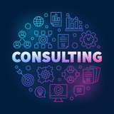 Consulting vector round colorful outline illustration on dark background