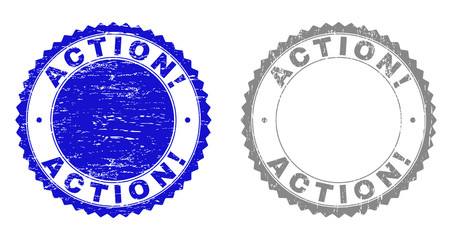 ACTION! stamp seals with grunge texture in blue and grey colors isolated on white background. Vector rubber imitation of ACTION! caption inside round rosette. Stamp seals with grunge textures.
