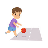 Little Boy Playing Ball on Road, Kid in Dangerous Situation Vector Illustration