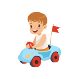 Cute Smiling Boy Riding Toy Car Vector Illustration