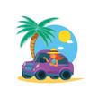 woman driving tourism little car in seascape
