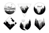 Fototapeta Las - Set of monochrome landscapes in geometric shapes circle, triangle, rhombus. Natural sceneries with wild pine forests. Flat vector for company logo or camping logo © topvectors