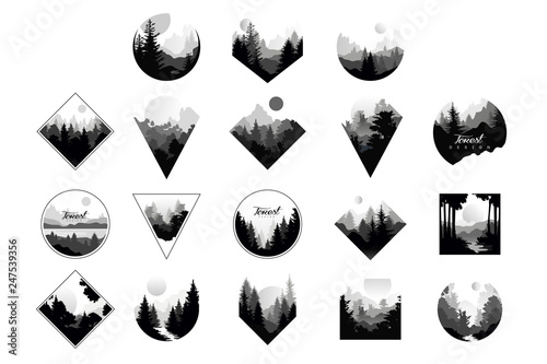 Set of monochrome landscapes in geometric shapes circle, triangle, rhombus. Natural sceneries with wild pine forests. Flat vector for company logo or camping logo - 247539356