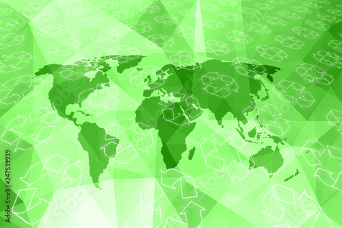 Artistic recycle symbols pattern on green abstract world map illustration background. © robsonphoto