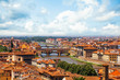 Quadro Firenze landmarks. Florence, Italy. Panorama cityscape with red roofs and bridge Ponte Vecchio and the Arno river in Florence