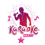 Karaoke party advertising poster composed with stage or recorder microphone vector illustration and musical notes. Superstar performance advertising announcement, feel yourself like a star. - 247554944