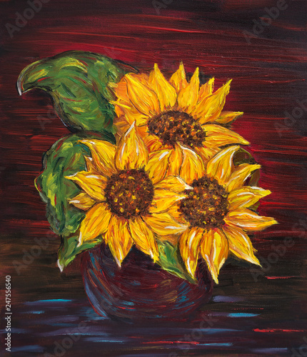 Sunflowers in red, Oil on canvas, printable artwork, oil painting © Akiko Nuru