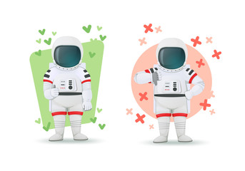 Set of astronauts making gestures of approval and disapproval. One showing thumbs up and other thumbs down sign. Like and dislike poses. Isolated on a white background. Cartoon characters.