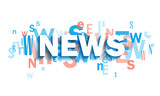 NEWS blue and coral typography banner