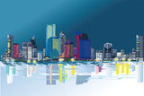 Series of colorful abstract street views in the city. Hand drawn vector architectural background with skyscrapers.