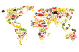 World map from different fresh fruits and vegetables, isolated