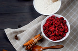Ingredients for baking pie with cherry
