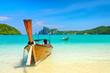 Leinwanddruck Bild - Longtail boats on the Loh Dalum beach, Phi-Phi Don island, Thail