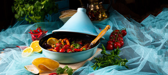 Tasty spicy beef with various vegetables cooked in tagine © Dar1930