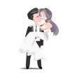 Wedding clipart . Illustration groom and bride. Cartoon character man in back suit and woman in white bridal gown for invitation card template. - 247594913