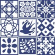 Blue Portuguese tiles pattern - Azulejos vector, fashion interior design tiles  - 247598153