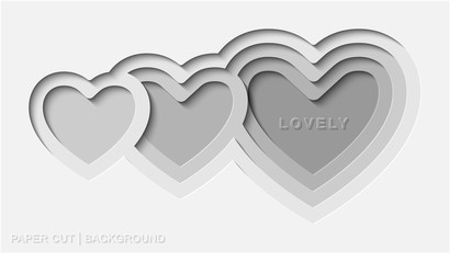 Lovely White Paper Cut Background Vector With Deep Heart Paper Cut Flat Style