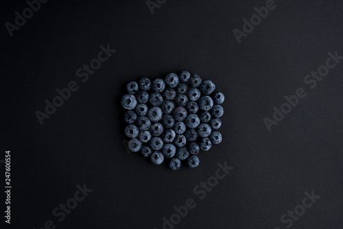 Blueberry On Black Background - 247600554