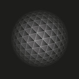 Abstract geometric sphere from triangular faces on dark background, for graphic design - Vector
