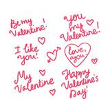 Be my Valentines. I love you Set pink handwritten inscription. Vector isolated