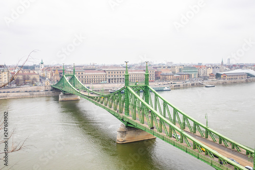 bridge over the danube river in budapest - 247604902