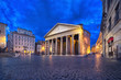 Rome, Italy. Wide angle view of Pantheon at dusk
